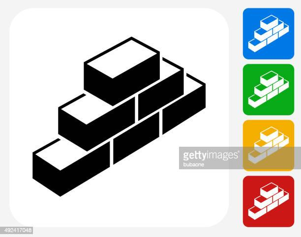 bricks icon flat graphic design - mortar and pestle stock illustrations, clip art, cartoons, & icons