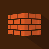 Bricks icon with long shadow. Bricks logo. isolated on background. Vector illustration.