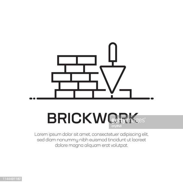 illustrazioni stock, clip art, cartoni animati e icone di tendenza di brickwork vector line icon - simple thin line icon, premium quality design element - mattone