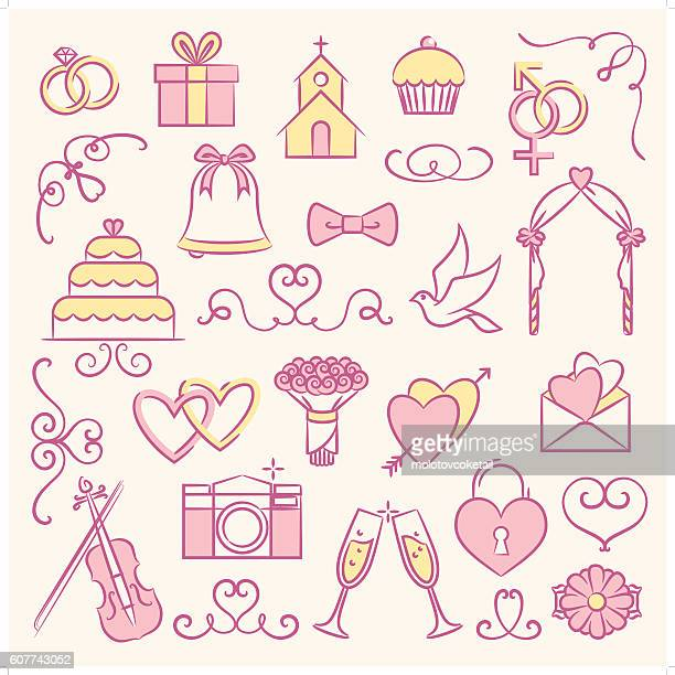 bridal icon set 2 - chapel stock illustrations, clip art, cartoons, & icons