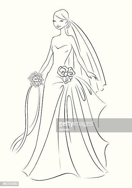 ilustraciones, imágenes clip art, dibujos animados e iconos de stock de líneas de bodas - vestido de novia