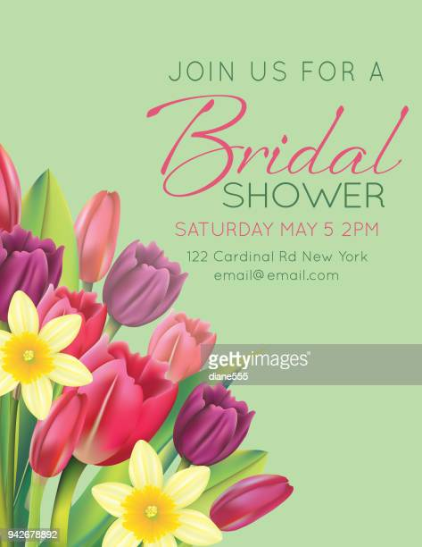 Bridal Shower Card With Spring Flowers