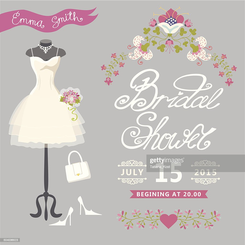 Bridal Shower Cardcute Wedding Invitation With Floral Border Vector