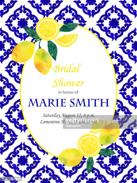 bridal shower invitation card design with fresh lemons and navy blue mediterranean tiles. wedding concept, design element. - lemonade stock illustrations