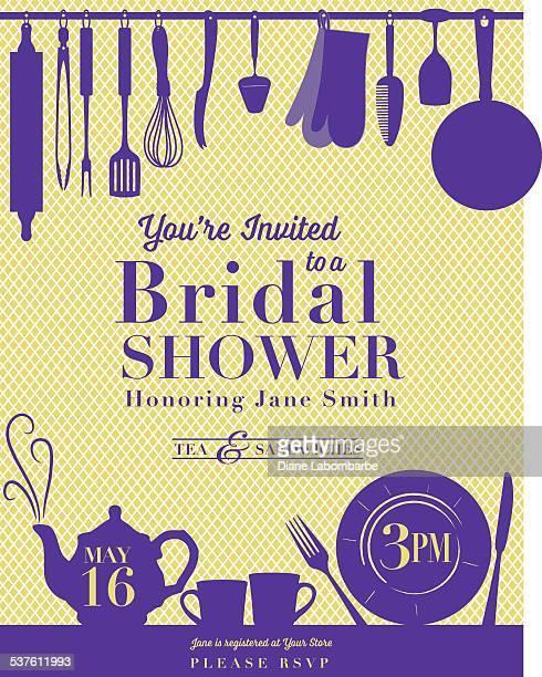 bridal shower kitchen invitation - kitchenware department stock illustrations, clip art, cartoons, & icons