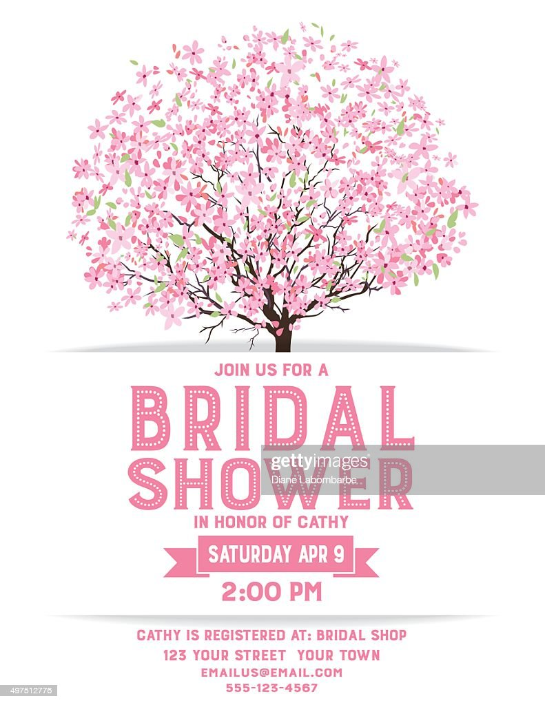 Bridal shower template with cherry blossom tree vector art getty bridal shower template with cherry blossom tree vector art maxwellsz