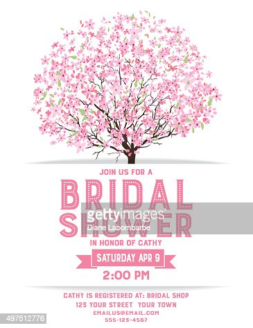 bridal shower template with cherry blossom tree vector art getty images