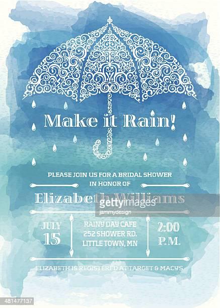 bridal shower umbrella invitation - shower stock illustrations, clip art, cartoons, & icons