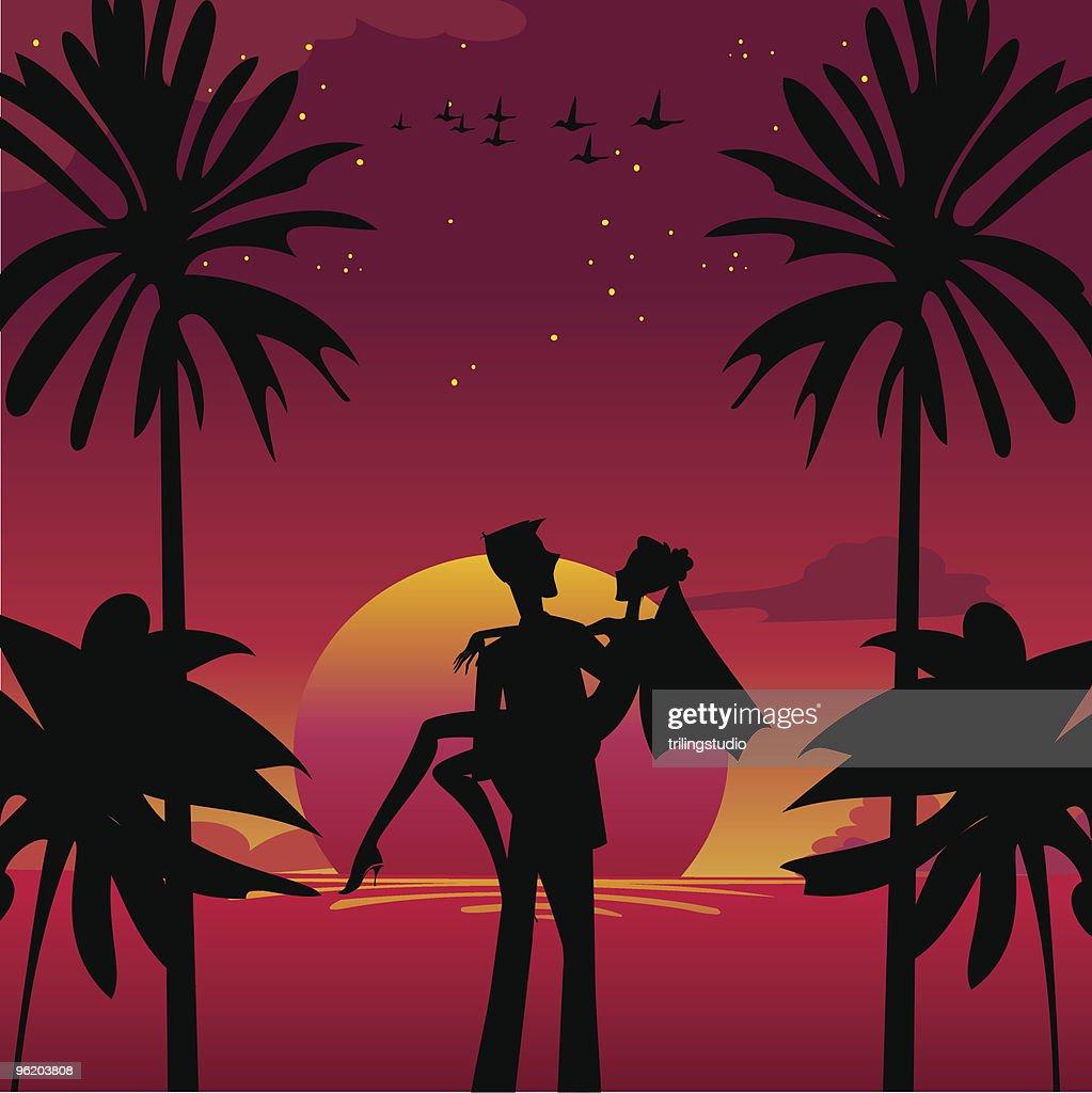 bride and bridegroom in romantic tropical night