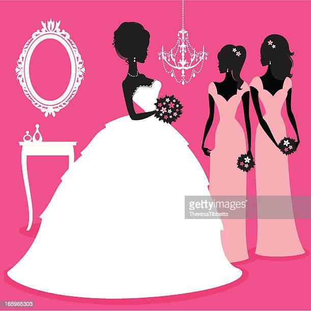 ilustraciones, imágenes clip art, dibujos animados e iconos de stock de novia y bridesmaids - vestido de novia