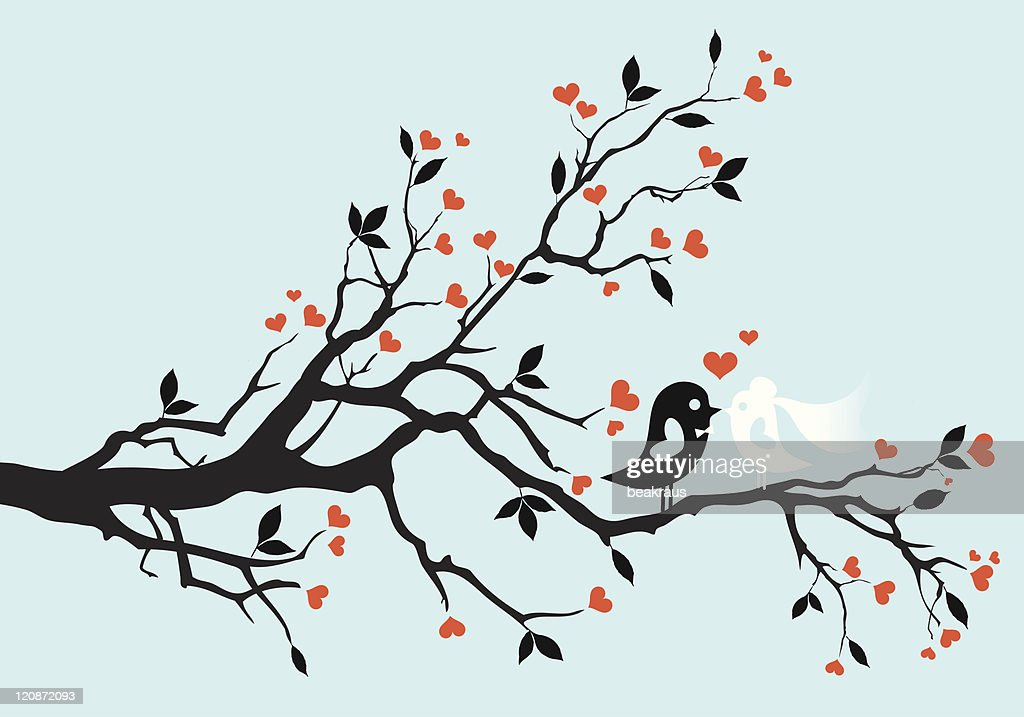 Bride and groom birds perched in a tree with heart leaves