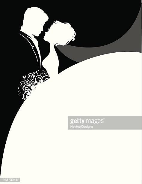 Bride and Groom in love silhouettes