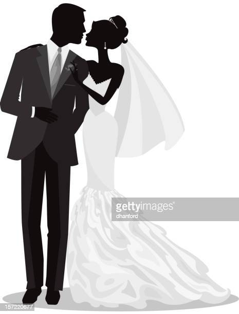 Bride and Groom Just Married Silhouette