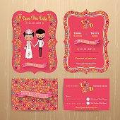 Bride and groom rustic floral wedding invitation card