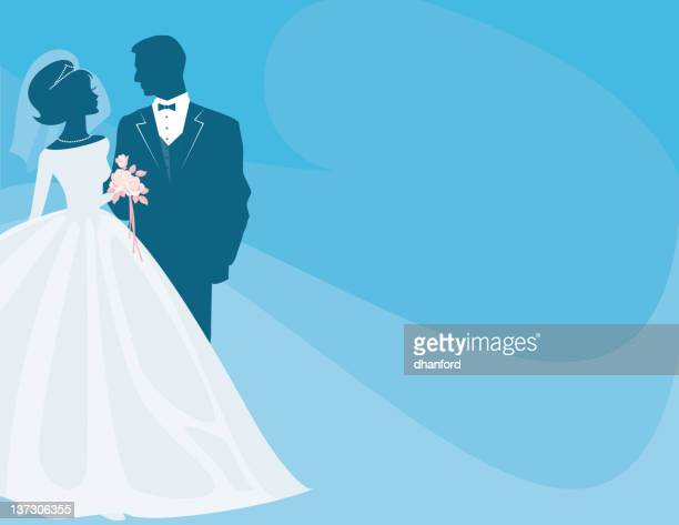 Bride and Groom Silhouette on blue with Pink Rose Bouquet