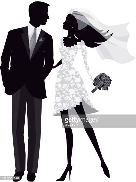 花嫁と花婿のシルエット - 異性のカップル点のイラスト素材/クリップアート素材/マンガ素材/アイコン素材