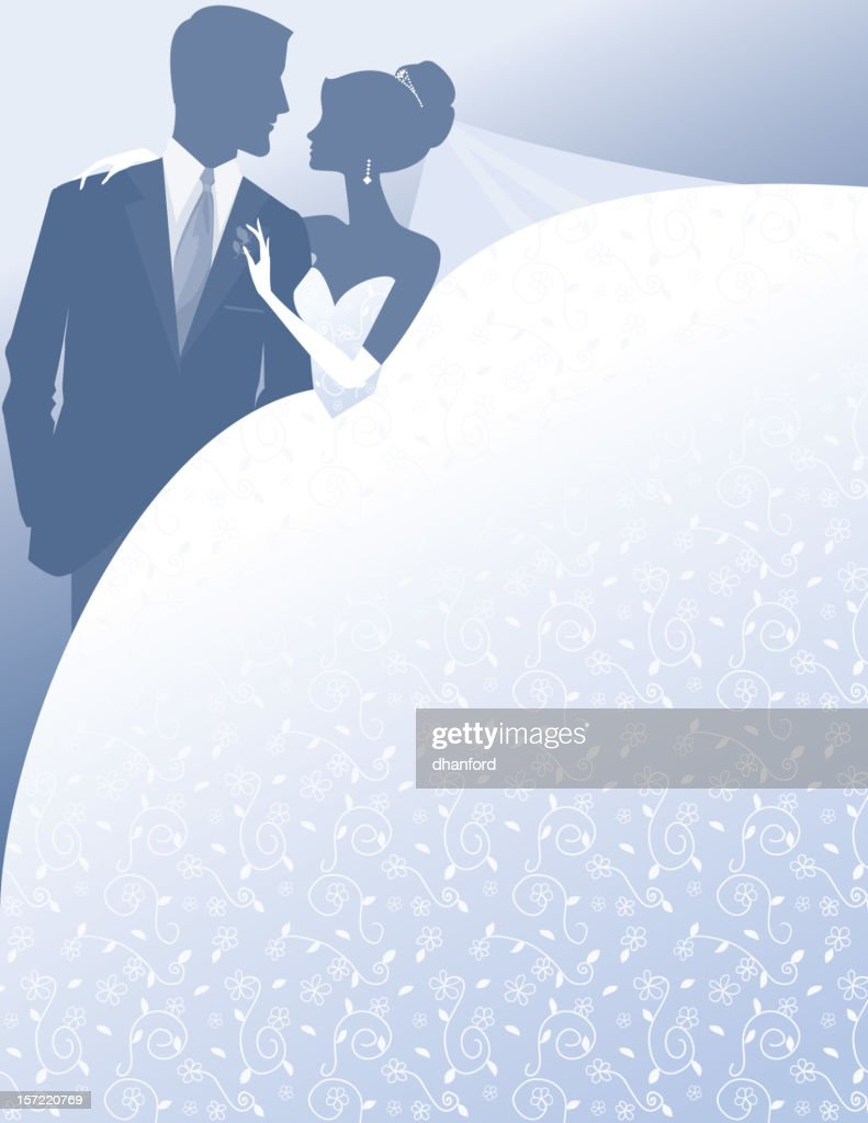 Bride and Groom Silhouette : stock illustration