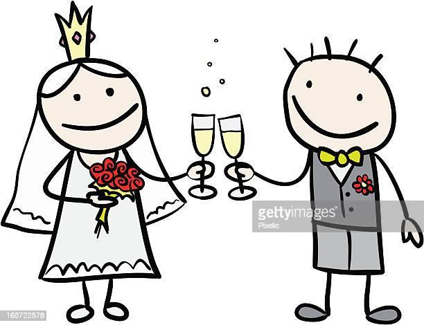 Novia y el novio brindis con champán