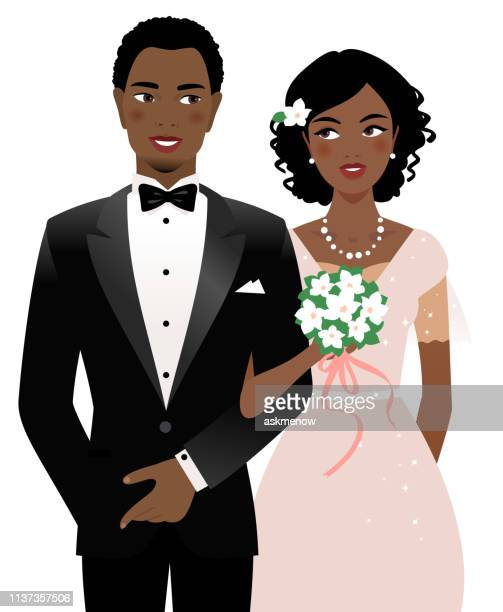 bride and groom - love at first sight stock illustrations