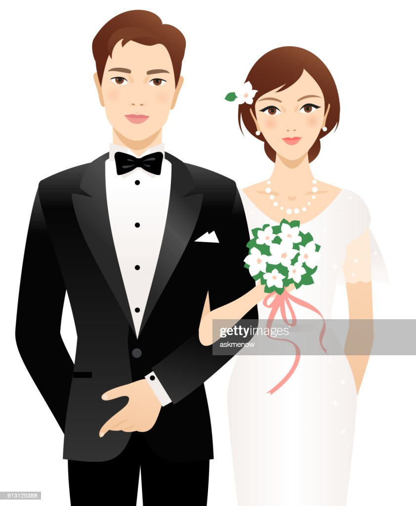 Bride and groom : stock illustration