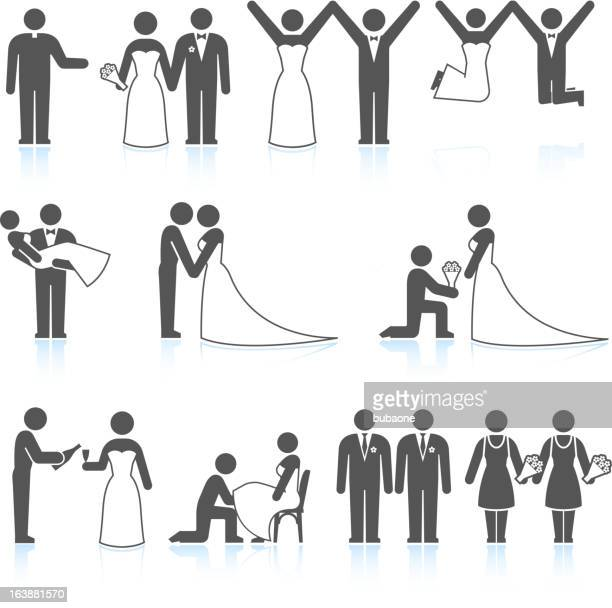 Bride and Groom Wedding Day black & white icon set