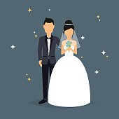 Bride and groom. Wedding design over grey background. V