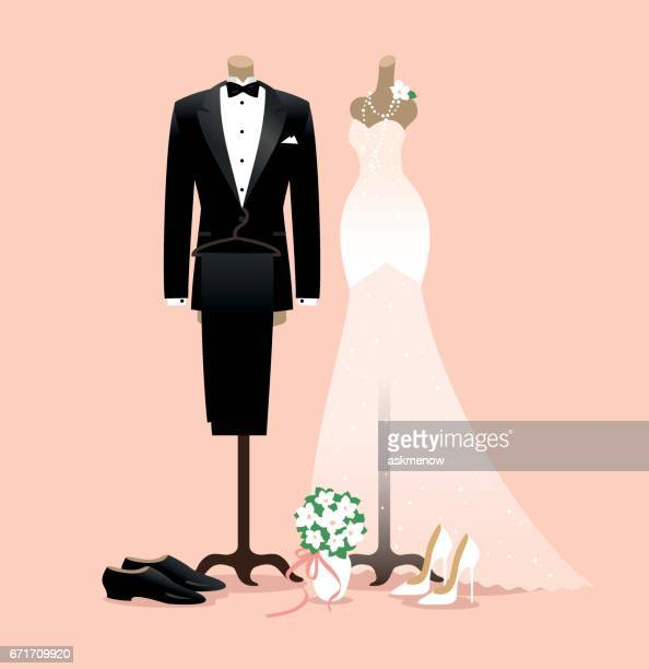 bride and groom wedding outfits - mannequin stock illustrations, clip art, cartoons, & icons