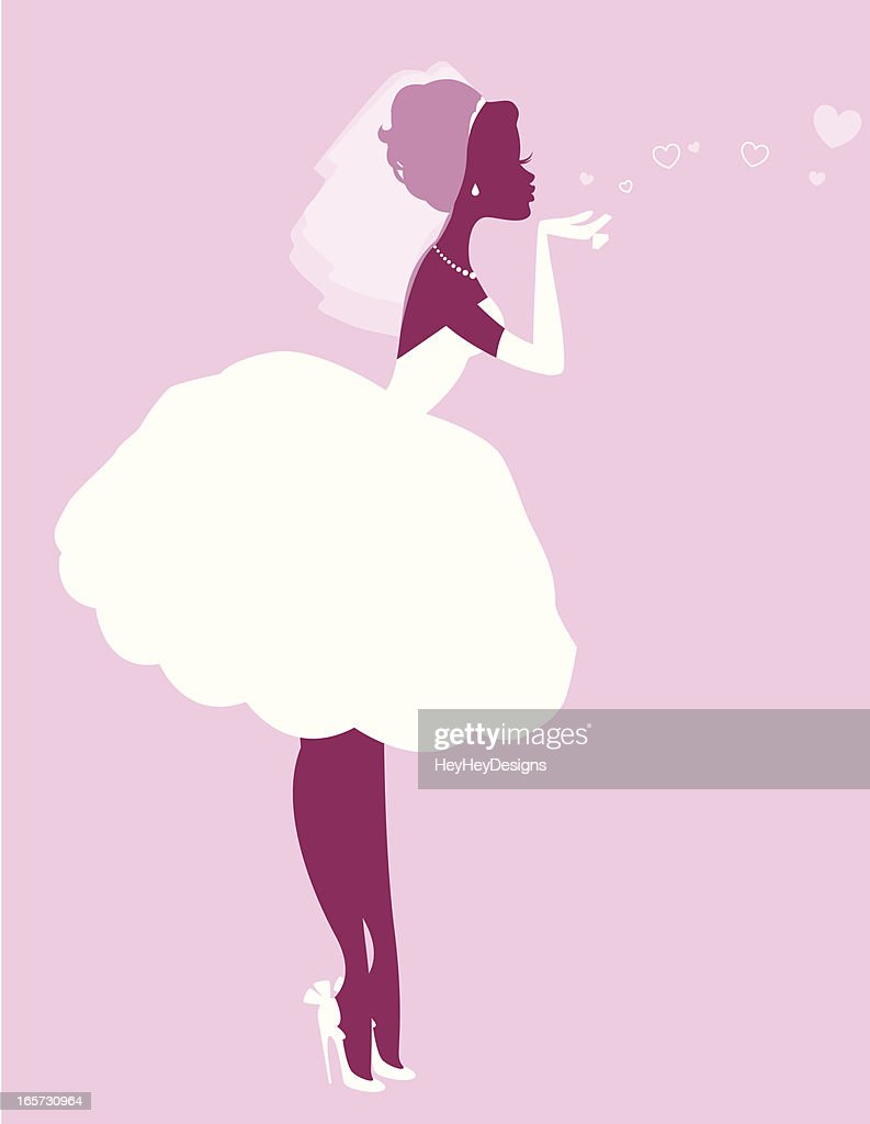 Bride Blowing kisses Silhouette : Vector Art