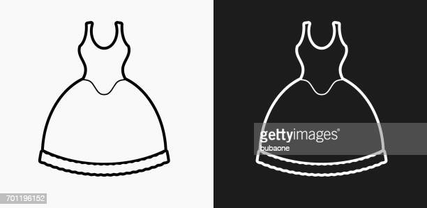 Bride Dress Icon on Black and White Vector Backgrounds