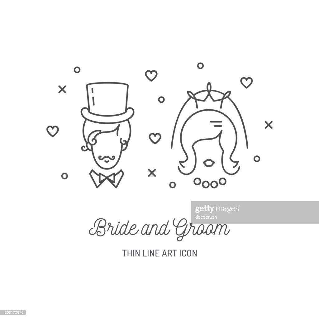 Bride Groom Icons Wedding couple signs. Love line art design, Vector flat illustration