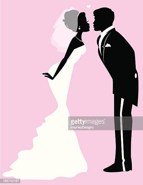 Bride Groom Silhouettes Kissing
