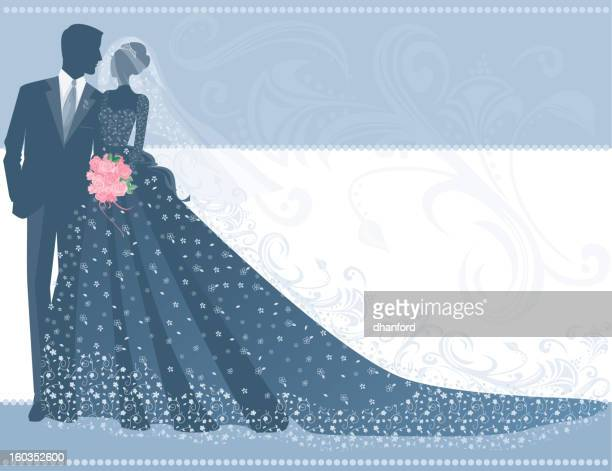 bride in lace wedding gown with groom and bouquet silhouette - updo stock illustrations, clip art, cartoons, & icons