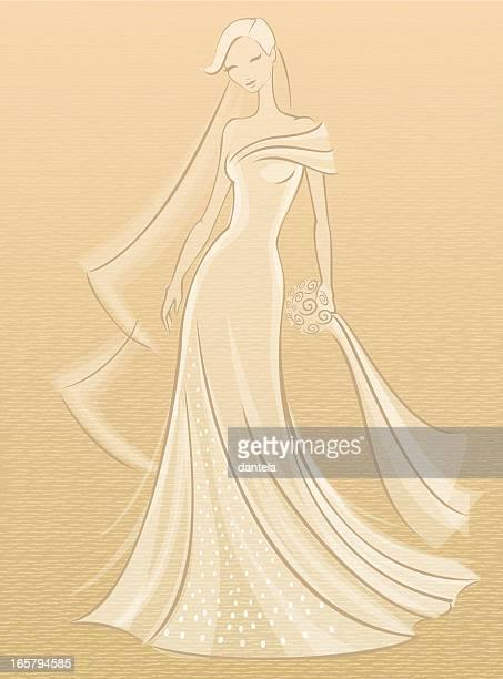 ilustraciones, imágenes clip art, dibujos animados e iconos de stock de novia boceto - vestido de novia