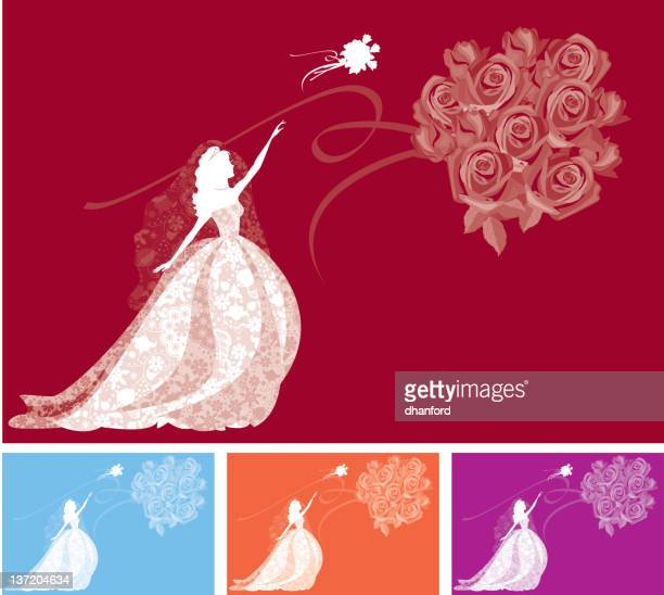 Bride Throwing Bouquet Silhouette