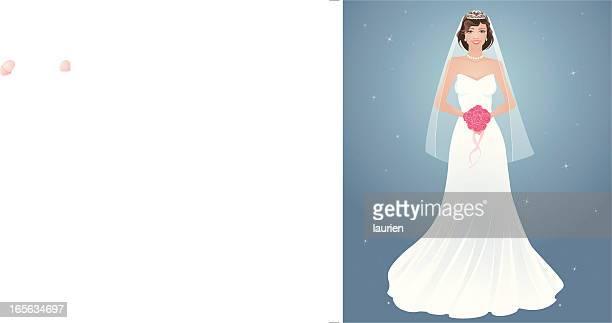 ilustraciones, imágenes clip art, dibujos animados e iconos de stock de novia - vestido de novia