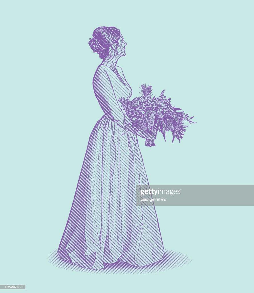 Bride, wedding dress and bouquet : stock illustration