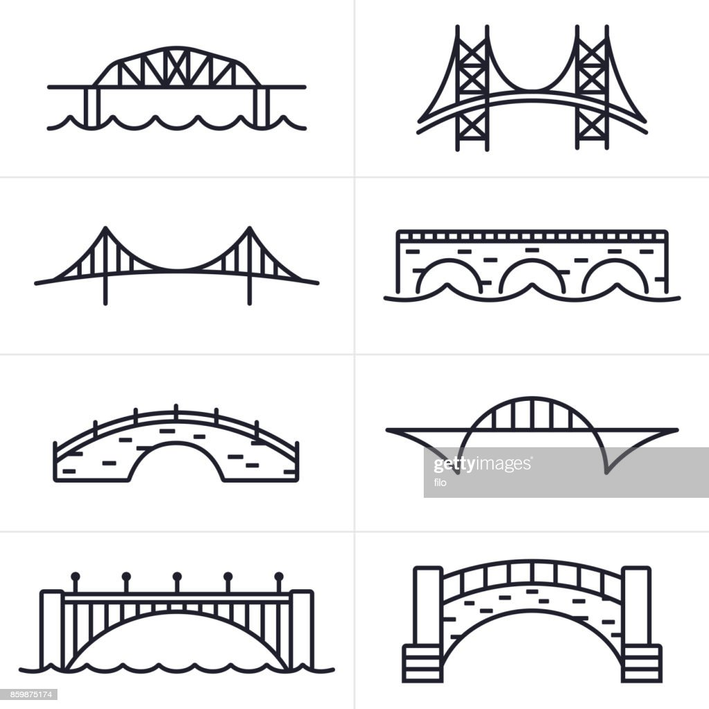 Bridge and Arch Icons and Symbols : stock illustration