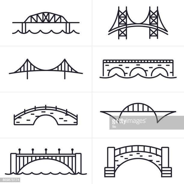 bridge and arch icons and symbols - architectural feature stock illustrations, clip art, cartoons, & icons