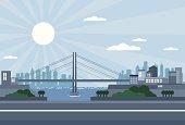 Bridge city - daylight, with skyscrapers, sea