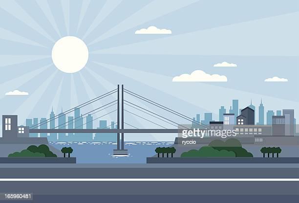 橋の街の光が差し込み、街並み、海の