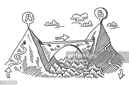 Bridge Connection Mountains Drawing Vector Art Getty Images