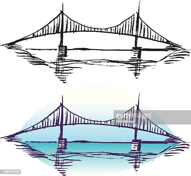 ilustraciones, imágenes clip art, dibujos animados e iconos de stock de puente de cruce - puente colgante