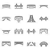 Bridge, icon set. Various bridges, linear icons. Line with editable stroke