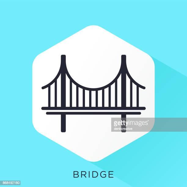 ilustraciones, imágenes clip art, dibujos animados e iconos de stock de icono de puente - puente colgante