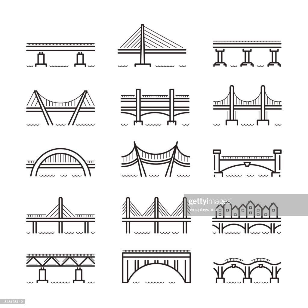 bridge line icon set vector