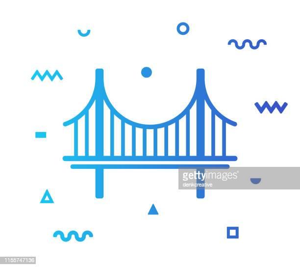 ブリッジラインスタイルアイコンデザイン - つり橋点のイラスト素材/クリップアート素材/マンガ素材/アイコン素材
