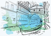 Bridge of Sighs, Venice, watercolor design
