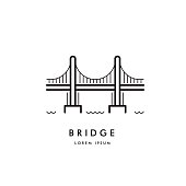 bridge outline icon vector