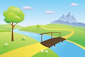Bridge river summer landscape day illustration vector