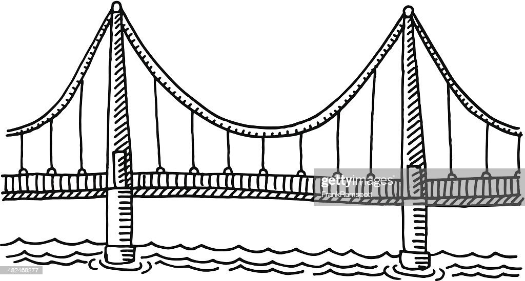 bridge side view drawing vector art